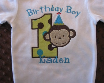 Birthday Boy First Birthday Mod Monkey Bodysuit or T-Shirt--Monkey birthday Shirt-- Green, teal and brown themed monkey party