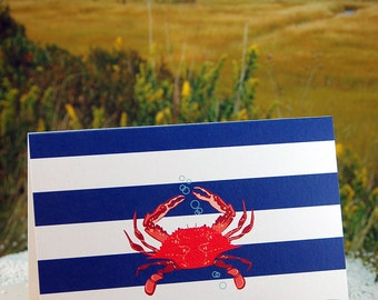 Crab Note Cards - Red crab on navy stripe - folded blank note cards - 8 pack