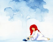Dream art giclee print - watercolour follow your heart red and blue painting
