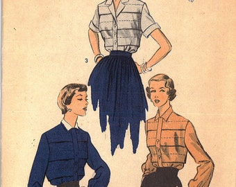 5628 1950's Women's Blouse Sewing Pattern Advance 5628 Bust 32