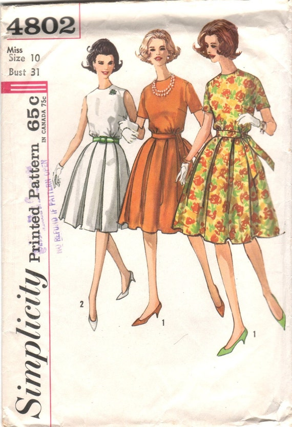vintage 60s sewing pattern dress with box pleat skirt