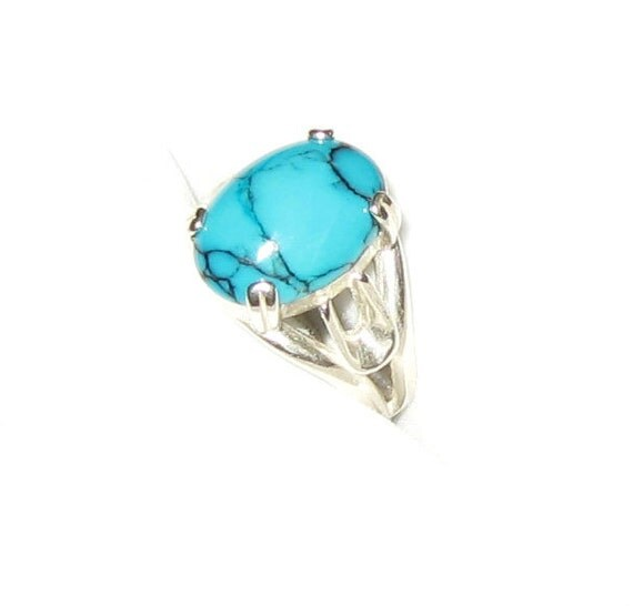 Beautiful Pattern Natural Turquoise In Sterling Silver Ring 4.25ct. Size 7