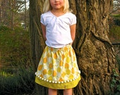 Girls Skirt cheery yellow lemons on white background with pompom trim for girls and toddlers