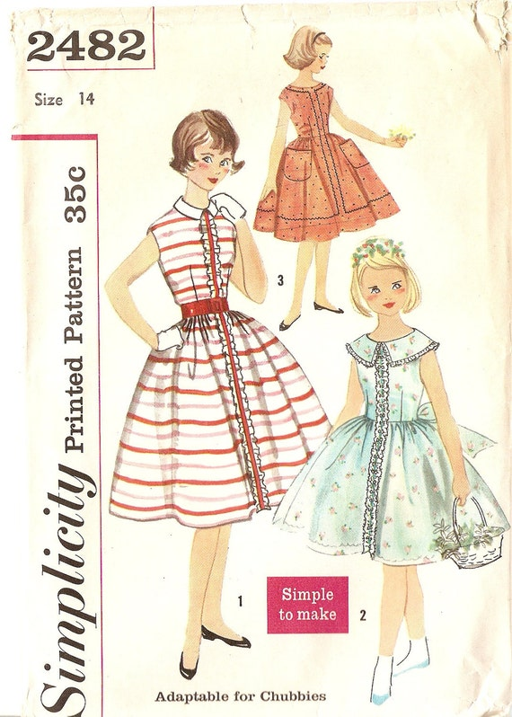 "1950s Girls Dress Pattern Bust 32 Lolita Dress Full Skirt Simplicity 2482 Vilntage Sewing Pattern "" Complete"