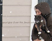 Cat Card Girl Carries Cat in from Snow Pet Photography