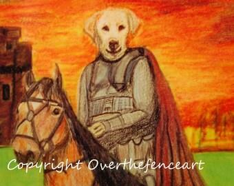 Dog Art Labrador Art Funny Medieval Knight Sir Labs A Lot Card