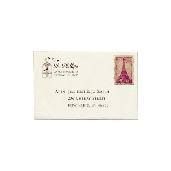 Personalized Calligraphic Address Stamp - Custom Address Stamp - Wedding - Housewarming - Birdcage - Cottage - French - DIY Printing - Gifts