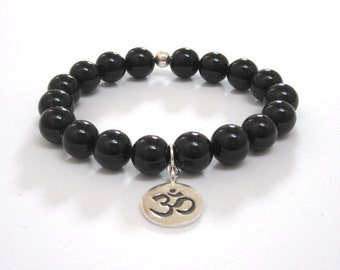 Men Bracelet Obsidian Mala Bracelet, Men Beaded Bracelet, Boho Buddhist Worry Beads, Om Charm Mala Beads Spiritual Recovery Gifts Retirement