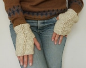 Fingerless Pattern Gloves Knit Dore Mittens - PDF knitting beginners easy ebook - woman hand warm fingerless gloves