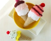 Ice Cream Crochet Pattern PDF - tiny amigurumi food - rattle, toy, baby mobile crochet pattern  - Instant DOWNLOAD
