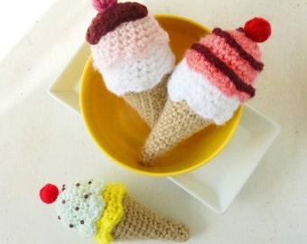 Ice Cream Crochet Pattern PDF - tiny amigurumi food - rattle, toy, baby mobile crochet pattern  - Instant DOWNLOAD