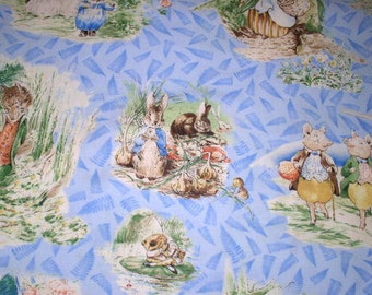 Beatrix Potter Fabric Victorian Story Storybook Characters on Blue