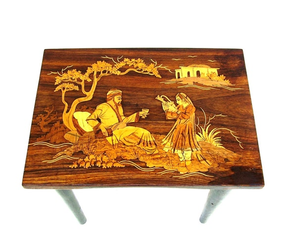 Antique Nesting Tables Marquetry Wood Table Set Japanese Zen Garden Asian Art