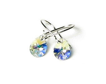 Tiny Clear Aurora Borealis Teardrop Swarovski Crystal Silver Earrings, Petite Clear AB Pear Earrings, Gift Boxed Jewelry For Women Teen Girl