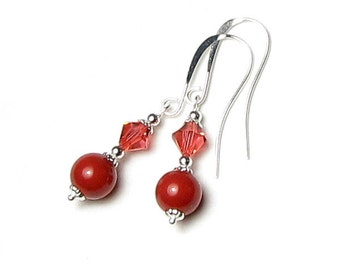 Brick Red Coral Swarovski Crystal & Pearl Silver Beaded Earrings, Autumn Jewel Tone Jewelry, Padparadscha Crystal, Romantic Gift for Women