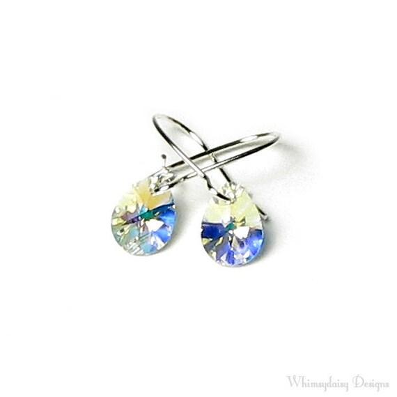 Tiny Clear Aurora Borealis Teardrop Swarovski Crystal Silver Earrings, Petite Clear AB Pear Earrings, Jewelry Under 20, Gift Boxed Earrings