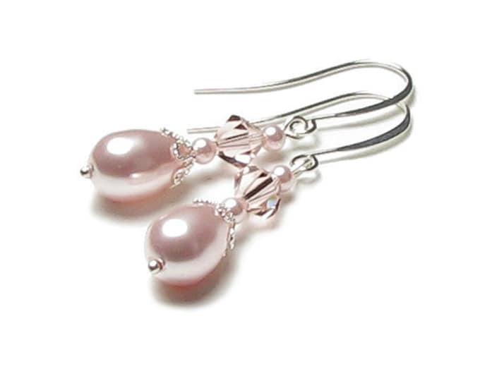 Rose Chiffon Swarovski Crystal and Pink Pearl Teardrop Silver Wedding Earrings Romantic Bridal Crystal Drop Jewelry Blush Bridesmaid Gifts