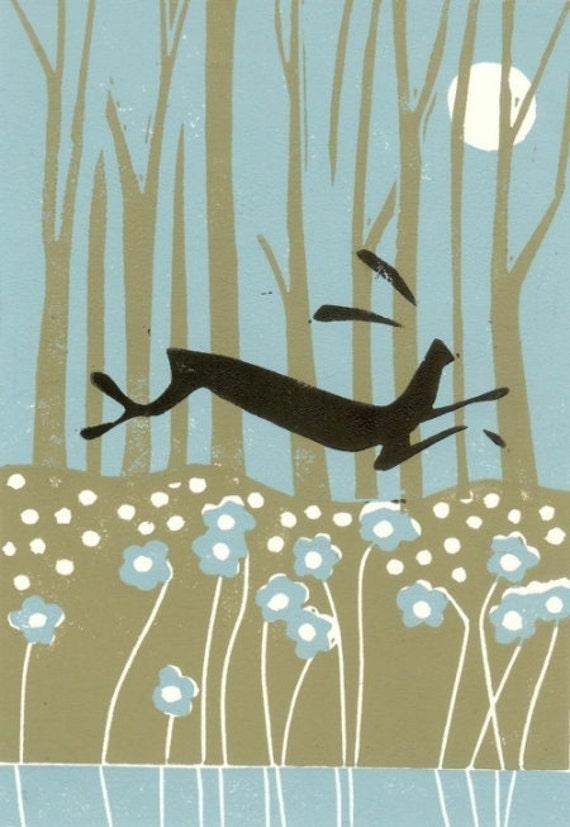 Moon Hare Lino Print - LAST ONE - Linocut, Original Art - Duck Egg Blue - Magical River - Printmaking Limited Edition by Giuliana Lazzerini.