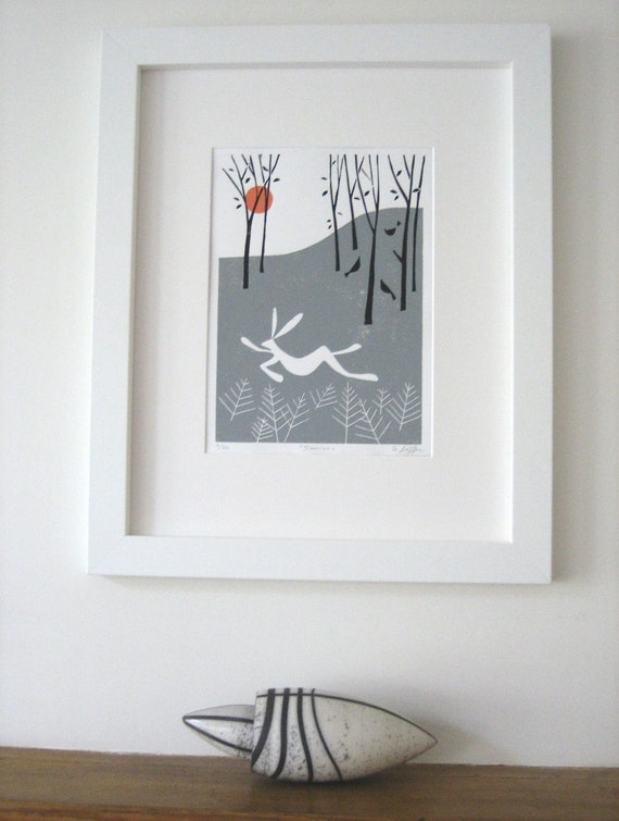 White Hare, Winter Woodland Linocut,Lino Print - White Rabbit Limited Edition of 20 only -English  Landscape,Rare Lino Block Print,Signed