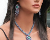 OOAK Turquoise Bead Embroidered Necklace - Bib Necklace - Formal Jewelry for Her - Ombre Beaded Stone Necklace - Fringe Necklace