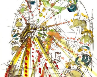 Ferris Wheel Watercolor  Sketch, rainbow carnival Sketch - fine art print