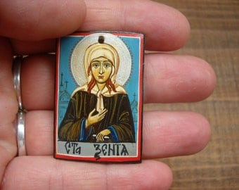 miniature icon of Saint  Xenia of St. Petersburg- Saint Ksenia, St Xenia - Hand painted orthodox icon- original folk art painting
