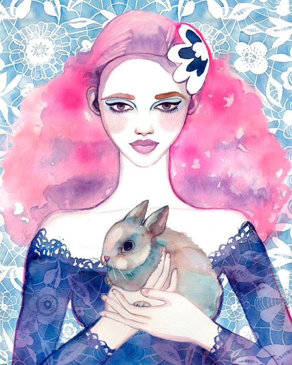 ART PRINT- bunny art, girls room art, whimsical nursery, nature art