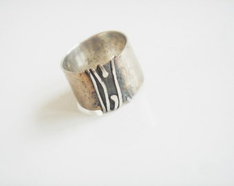 """Modern silver jewelry ring - unique ring - modern silver ring - contemporary organic sterling silver ring. Known as """"Mr. Dubious""""."""