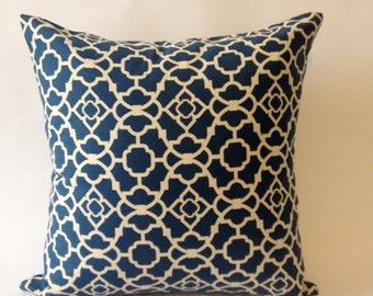 Decorative Pillow Cover -16x16 Blue & Off White Medium Weight  Lattice Cotton Print  -Invisible Zipper Closure