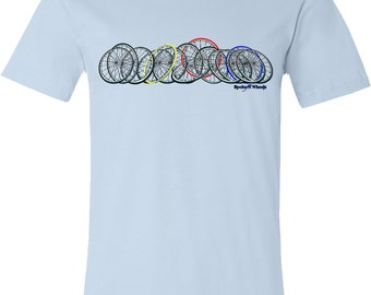 Bicycle T-Shirt -Horizontal Bicycle Spokes and Wheels-Road Bike T-shirt,Light Blue-Gift for Cyclists,Cycling t-shirt,skinny tire,for him