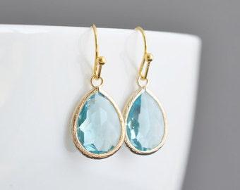 30% OFF,Aquamarine earrings,Gold earrings,Simple earrings,Wedding jewelry,Bridal earrings,Christmas gift,Non pierced earrings,Clip erarings