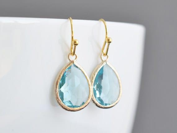 SALE, Aquamarine earrings, Gold earrings, Simple earrings, Wedding jewelry,Bridal earrings,Christmas gift,Non pierced earrings,Clip erarings