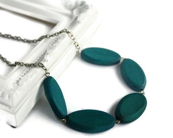 Minimalist Jewelry, Teal Blue Necklace with Geometric Wood Beads on Chain, Perfect Lightweight Summer Fashion