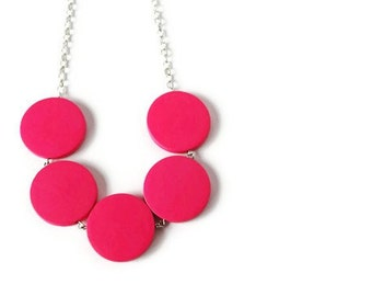 Neon Pink Necklace - Neon Necklace - Geometric Necklace - Bridesmaid Jewelry -Bright Pink Jewelry - Chunky Wood Necklace - Pink Wedding
