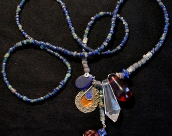 Protection Amulet Necklace -Blue Vintage Jewelry, Old African Pendant, African Trade Beads