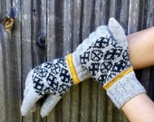 latvian gloves, knitted wool gray gloves, patterned wool gloves, gray green gloves, hand knit gloves, women gloves, men gloves