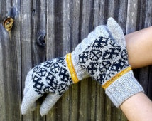 latvian gloves, knitted wool gray green winter gloves, hand knit women men hand warmers, colorful nordic ethnic arm warmers, accessories
