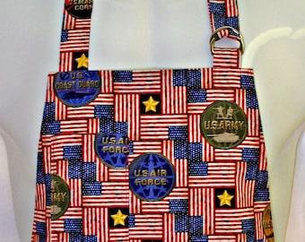 Apron Mans, MILITARY Patriot, Army Navy Marines Air Force Coast Guard, US Flags, Stars & Bars, BBQ Grill Fun Gift