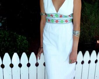 Vintage 1970's/1980's White Cotton Dress, Halter Style Dress, Ethnic, Bohemian