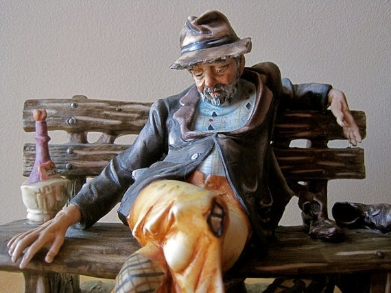 The Weary Traveler: Rare Porcelain Signed Numbered Figural Vintage 1960s Hobo Man with Suitcase and Wine Detailed Realistic