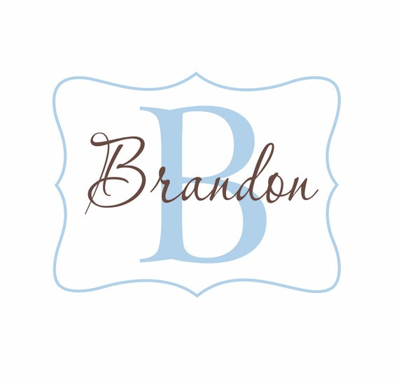 Name and Initial Vinyl Wall Decal Personalized Monogram Wall Decal Boy Girl Baby Nursery Room Wall Art 22Hx28W FS168