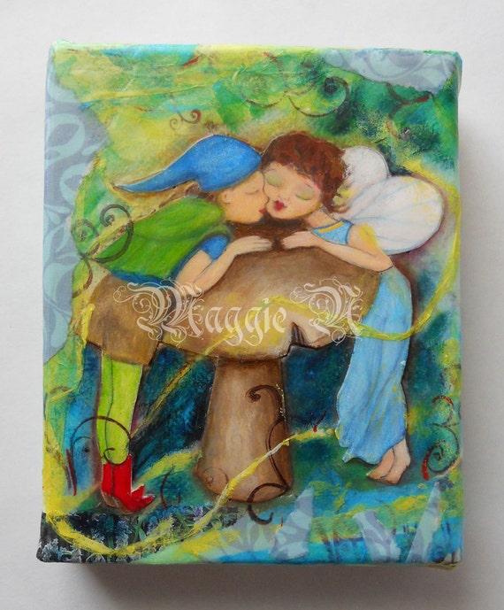 Fairy Painting Kiss Giant Mushroom Boy and Girl Fairies Woodland Scene Small Original Mixed Media Painting Tiny Canvas 4 x 5 Child Decor