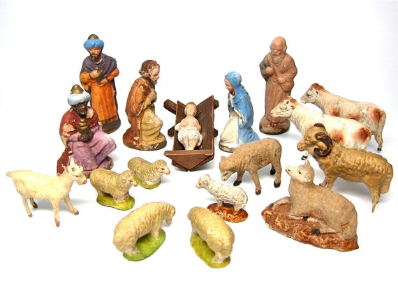 Vintage Nativity Scene German French Paper Mache Creche