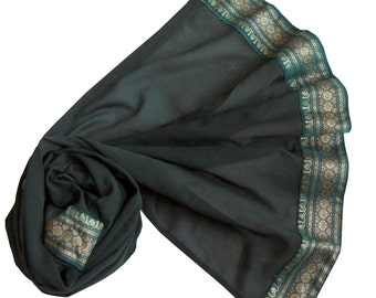 Medium Length - Dark Green with gorgeous & vintage woven border