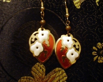 Floral Enamel Dangle Earrings Gold with Red and White Blossoms