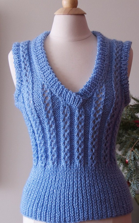 Hand knitted blue tunic top, vest, sweater,tank top, ready to ship