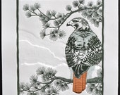 Linocut Relief Print, Original Art, 4-Color 11x13 RED TAIL with Blind Embossing