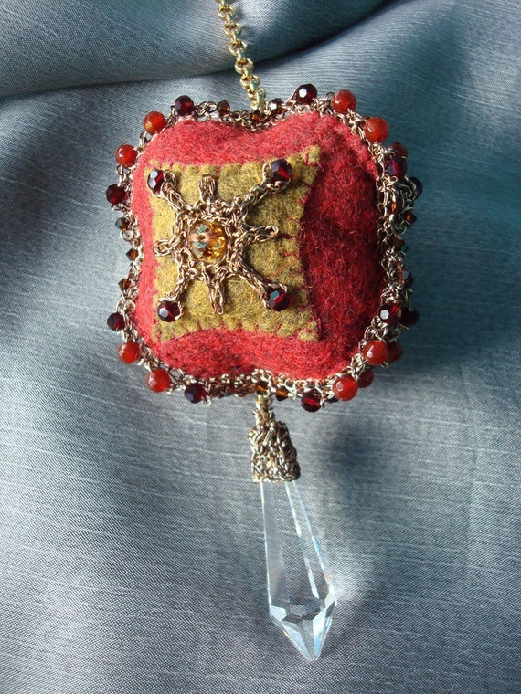 Crocheted Wire Lace Felt Ornament Penny Rug Inspired Mixed Media with Lead Crystal Prism Christmas Ornament Renaissance inspired Baroque