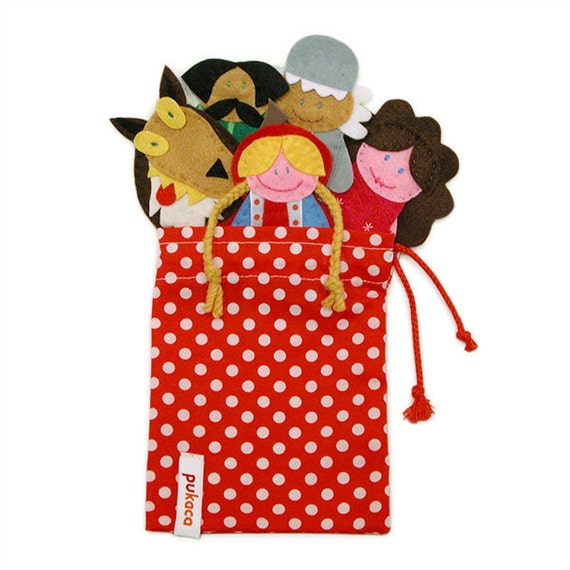 Little Red Riding Hood Finger Puppets Bag - 5 Felt Finger Puppets and Bag - Kids Felt Toy
