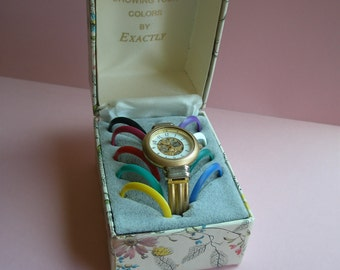 SALE-80s interchangeable faces watch, gold tone, 10 color faces, original box, hinged bangle, disco, original 80s, egst, Greece